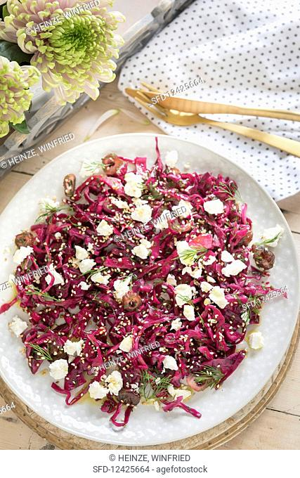Pickled red cabbage salad with dates, feta and sesame seeds