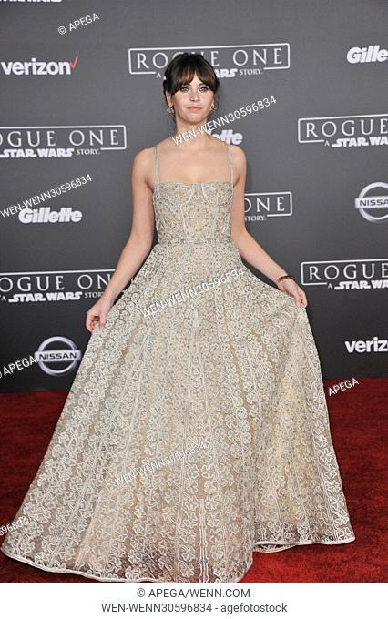 World premiere of 'Rogue One: A Star Wars Story' held at Pantages Theatre - Arrivals Featuring: Felicity Jones Where: Los Angeles, California