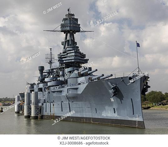 Houston, Texas - The Battleship Texas, which served in World War I and World War II, docked on the Houston Ship Channel. It is now a museum ship