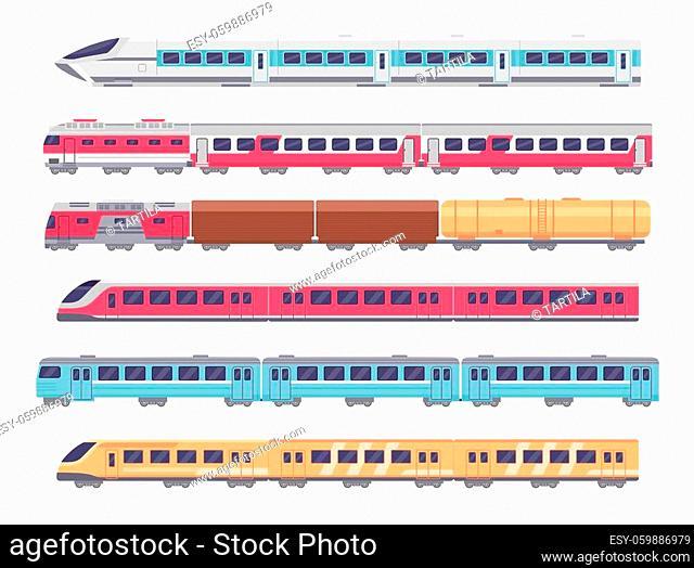 Passenger trains. Cartoon subway, express and cargo train. Underground transport with wagons. Metro locomotive, railway carriage vector set