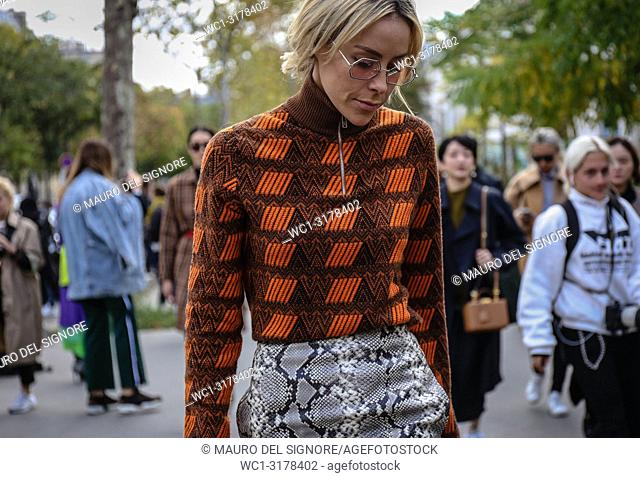 PARIS, France- October 1 2018: Mary Lawless Lee on the street during the Paris Fashion Week