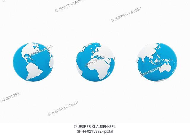Three globes, illustration