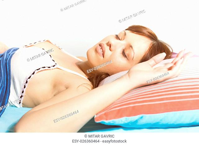 Sleeping woman, young beautiful caucasian female sleep in the bed