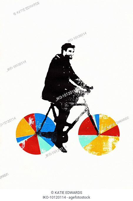 Businessman riding bicycle with multicolored pie chart wheels