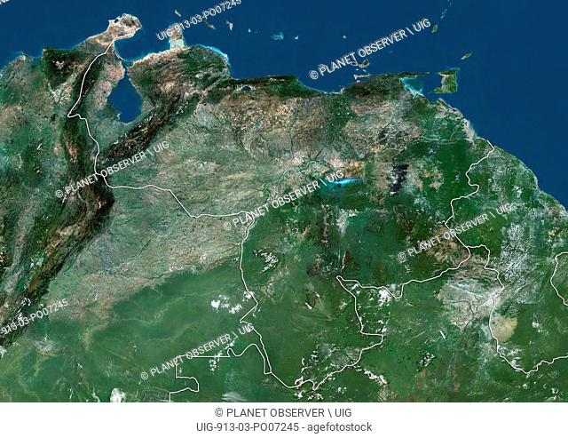 Satellite view of Venezuela (with country boundaries). This image was compiled from data acquired by Landsat satellites