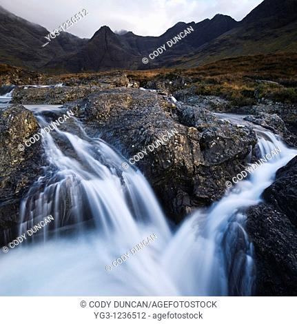 Waterfall at Fairy Pools, Coire na Creiche, Glenbrittle, Isle of Skye, Scotland