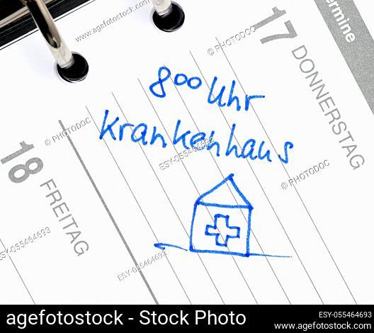 hospital, organizer, calendar entry