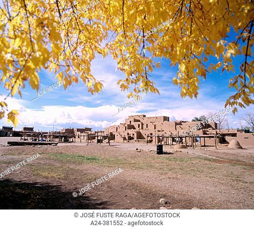 View of adobe buildings. Taos Indian Pueblo, Taos. New Mexico, USA