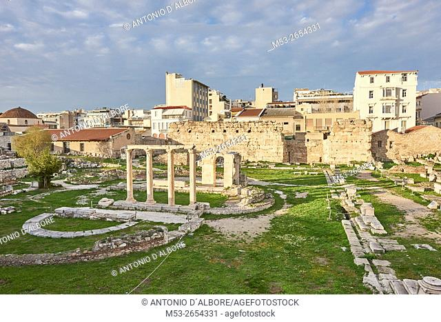 The Hadrian's Library ruins in Thiseio. Athens. Greece