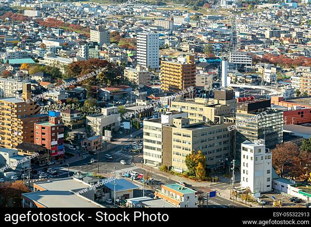 aerial view of city of koriyama in Fukushima Japan