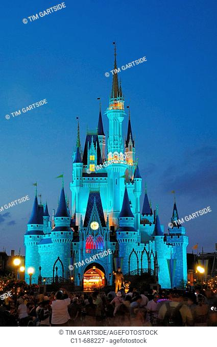 magic kingdom castle at night orlando florida usa america walt disney world resort