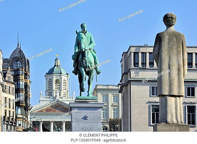 Equestrian statue of king Albert I at the Kunstberg / Mont des Arts in Brussels, Belgium
