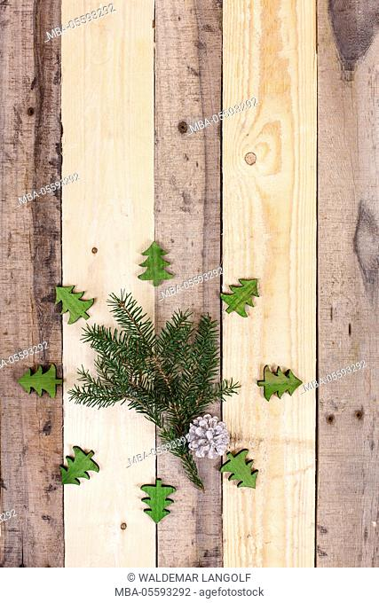 Christmas decoration, twig, deco cones and Christmas trees