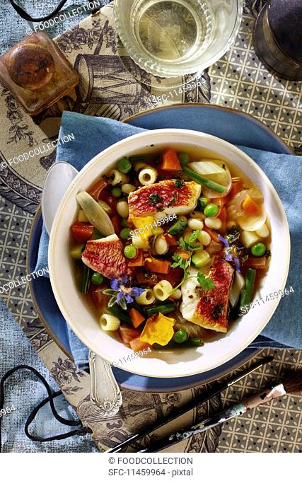 Spring minestrone soup with mullet