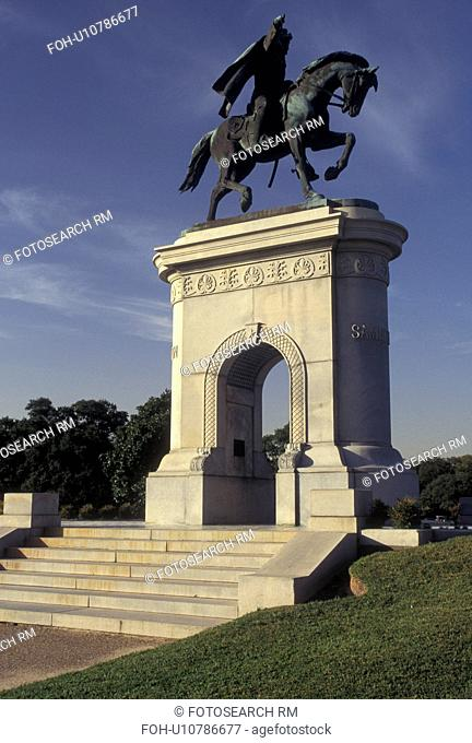 Houston, TX, Texas, Equestrian statue of General Sam Houston stands at the entrance to Hermann Park in Houston