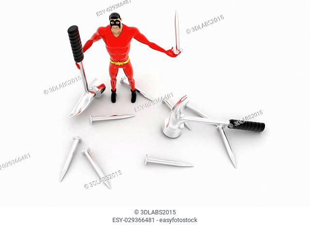 3d superhero with hammer and nail concept on white background, top angle view