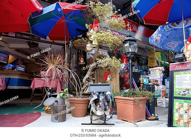 A cafe and shops, Sai Kung, Hong Kong
