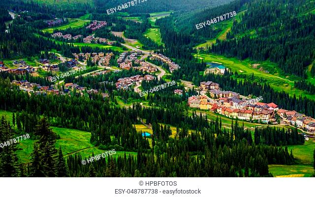 Canada's Alpine Village of Sun Peaks viewed from Tod Mountain in the Shuswap Highlands in central British Columbia in Summer