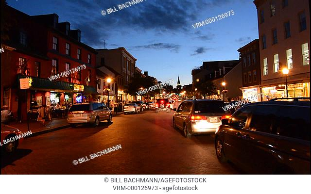Annapolis Maryland tourist town center night image exposure on main street traffic
