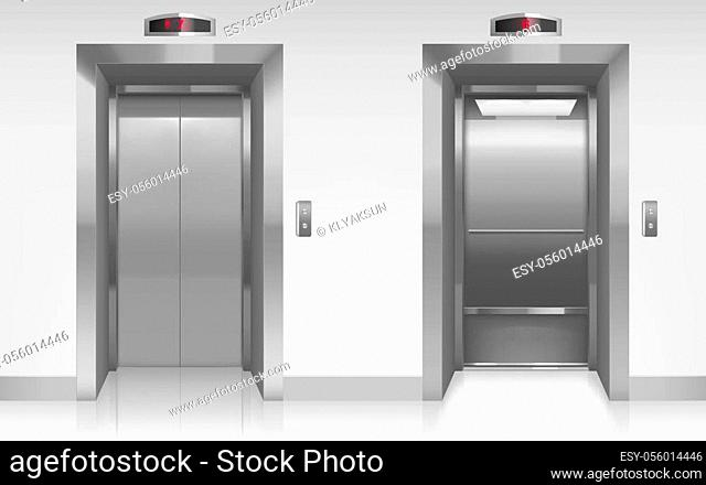 Open and closed elevator doors in office hallway. Vector realistic empty modern interior with lift, metal panel with buttons and floor display on wall in hall...