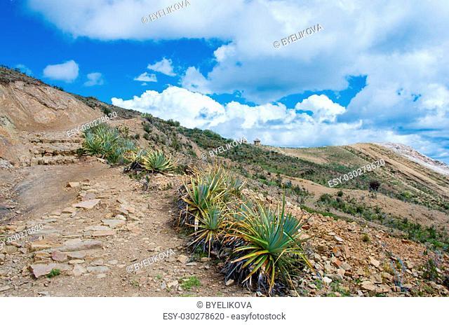 Landscape on Island of the Sun (Isla Del Sol) on Titicaca lake. Bolivia
