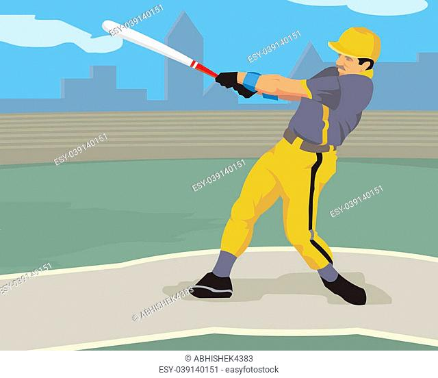 Baseball player hitting with a baseball bat
