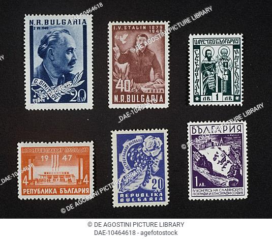 Top from left, postage stamp honouring Georgi Dimitrov (1882-1949), 1949, postage stamp commemorating the 70th birthday of Stalin (1878-1953)