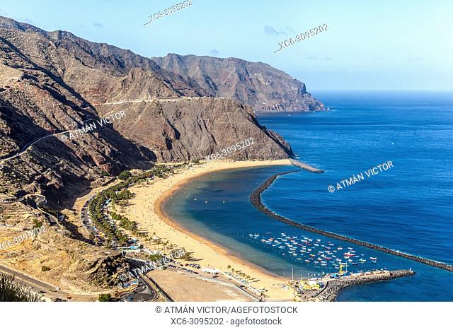 aerial view of Las Teresitas beach and San Andres municipality. Tenerife island