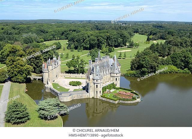 France, Loire Atlantique, Missillac, Brire natural regional park, the castle of la Bretesche and its golf, luxury hotel belonging to the group Relais et Chteaux...