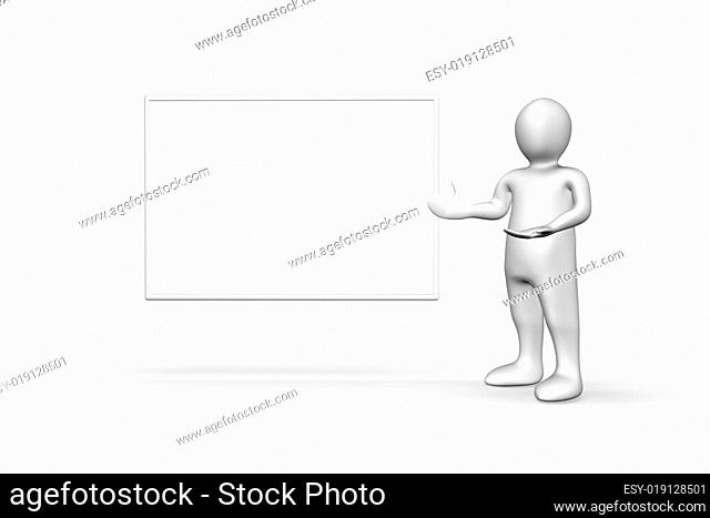 Illustrated white figure standing next to copyspace