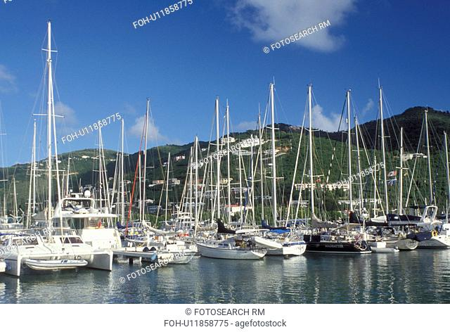 Tortola, sunrise, British Virgin Islands, Road Town, Caribbean, BVI, Boats docked in Road Bay in Road Town on the island of Tortola