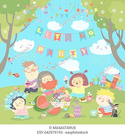 Children having picnic at the lawn. Vector illustration