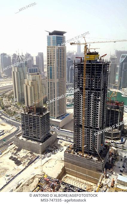 Buildings development in marina district, Dubai, UAE