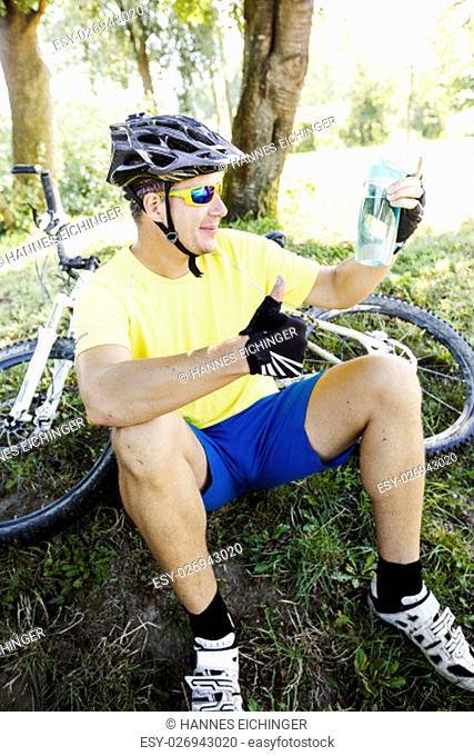 mountain biker takes a break