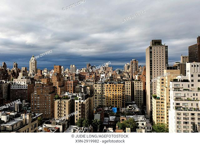 New York City Manhattan. Clearing Storm Clouds over the Upper East Side