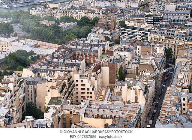 Paris buildings and skyline, aerial view from Eiffel Tower, France - Europe