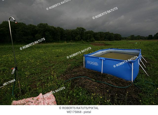 Swimming pool in the meadow at thunderstorm
