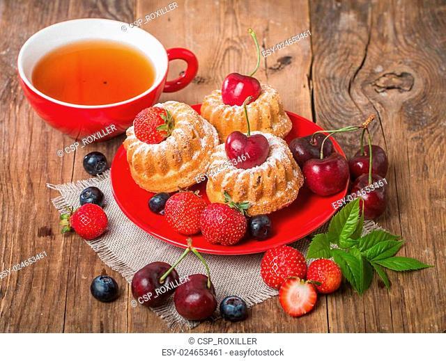 Homemade muffins with fresh berries