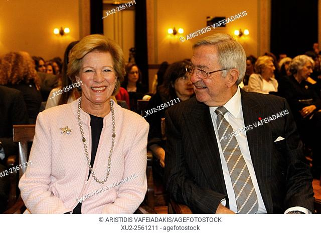 KING CONSTANTINE and ANNE-MARIE of Greece attend at Parnassos concert hall during World Day for Prevention.of Child Abuse - 19 November