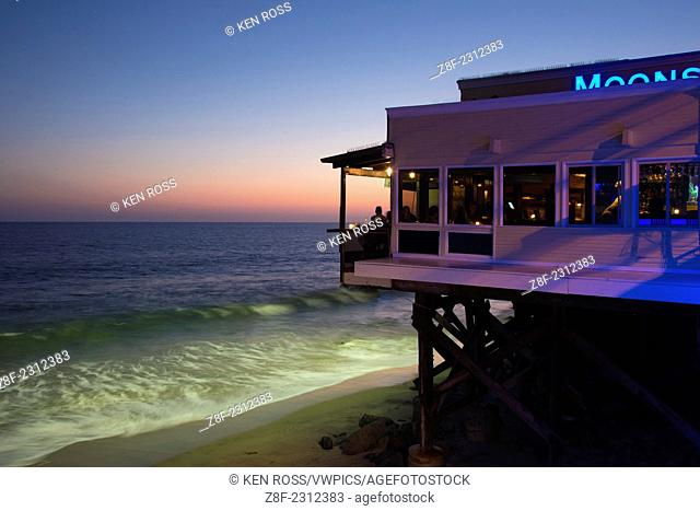 View of Ocean from Moonshadows Restaurant at dusk, Malibu, California, USA