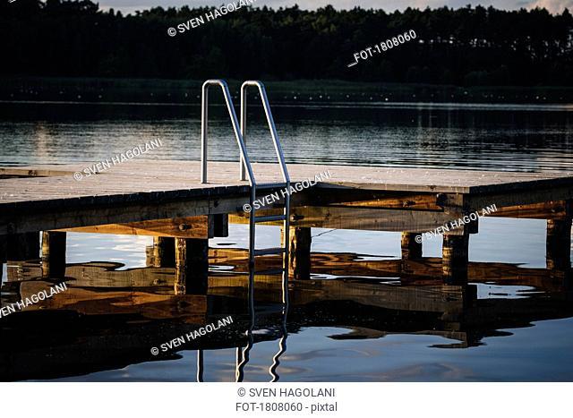 Dock with ladder over lake, Barnim, Mecklenburg-Vorpommern, Germany