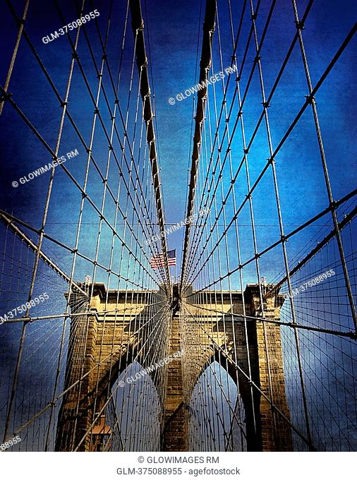 Low angle view of a suspension bridge, Brooklyn Bridge, Brooklyn, New York City, New York State, USA