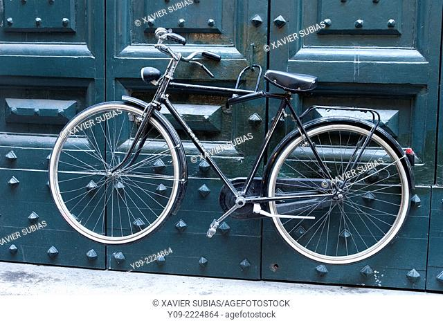 Bike attached to door, Palace Braschi and Rome Museum, Rome, Lazio, Italy