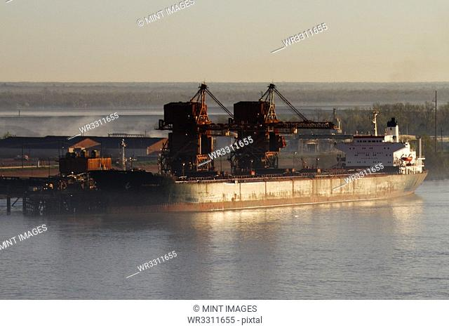 Cargo Ship and Loading Cranes