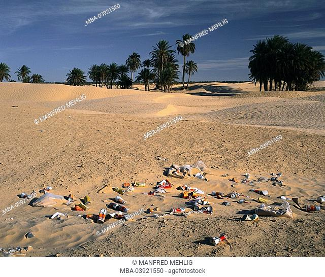 North-Africa, Tunisia, Sahara, garbage, beverage-cans, plastic-foils, Africa, Maghreb-countries, desert, sand, landscape, desert-landscape, palms, cans