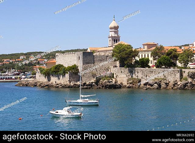 Croatia, View of Krk with Frankopan castle in background