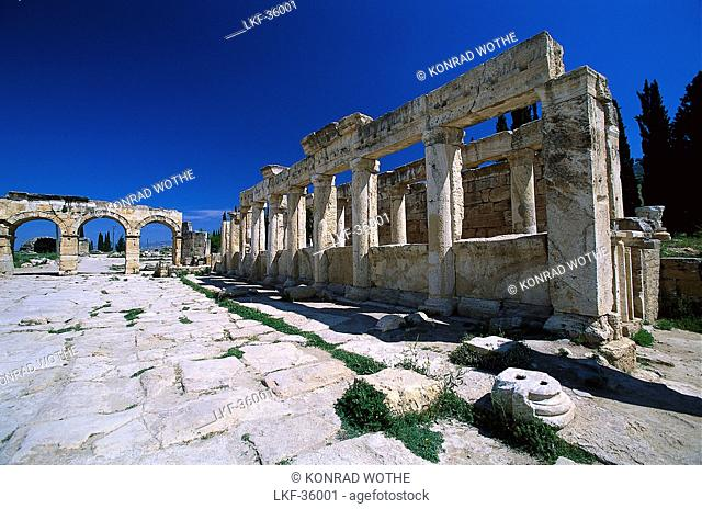 Frontinus street and North Gate, Nekropole, Ancient city of Hierapolis near Pamukkale, Turkey