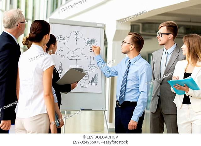 people, planning and strategy concept - business team with scheme on flip chart at office