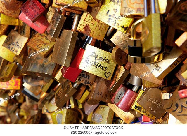 Love padlocks. Pont des Arts bridge. Seine river. Paris. France