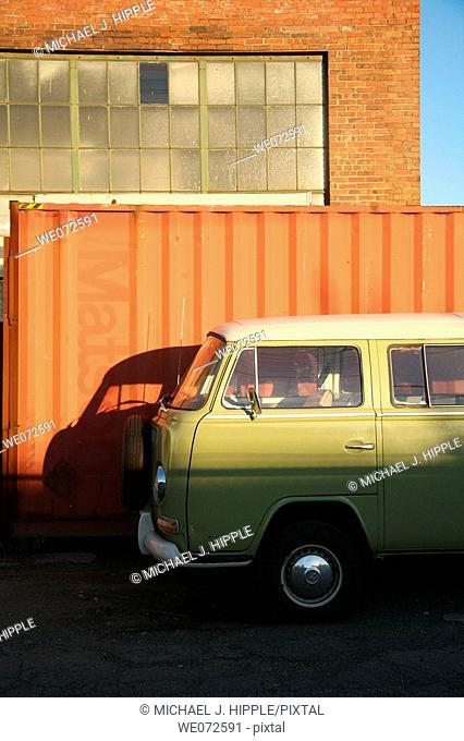 Van parked in industrial neighborhood